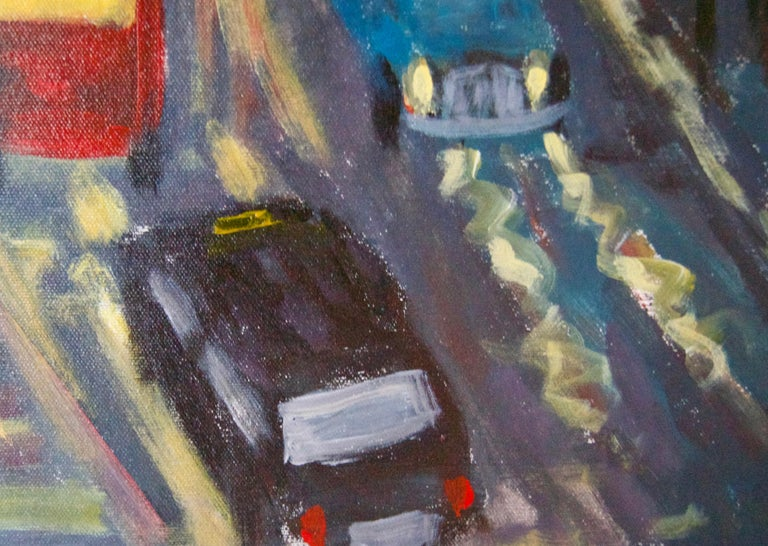 Evening Embankment - Late 20th Century Impressionist Acrylic Piece of London - Black Landscape Painting by Michael Quirke