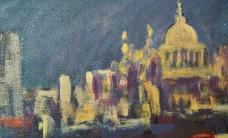 Evening Embankment - Late 20th Century Impressionist Acrylic Piece of London For Sale 1