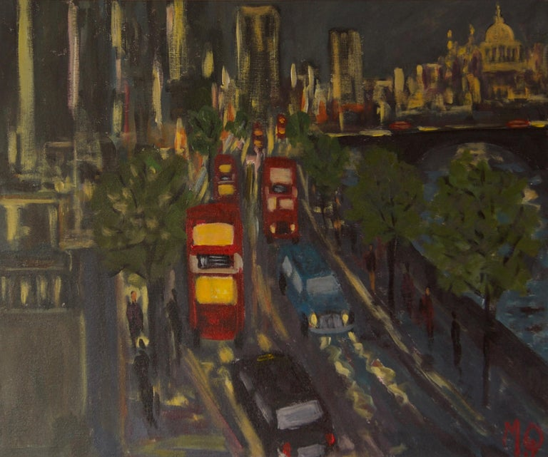 Michael Quirke Landscape Painting - Evening Embankment - Late 20th Century Impressionist Acrylic Piece of London