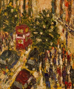 Late Shopping in Oxford Street - Late 20th Century  Impressionist Acrylic