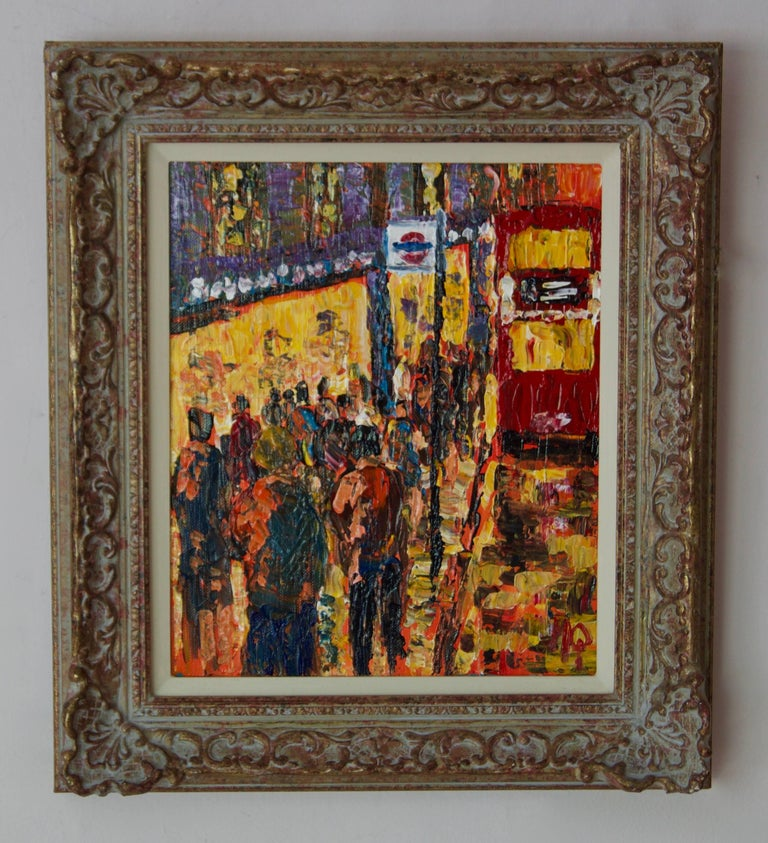 London High Street - Late 20th Century Impressionist Acrylic of Bus Stop Quirke - Painting by Michael Quirke