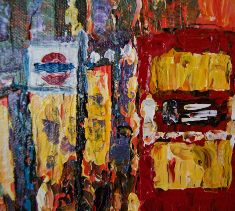 London High Street - Late 20th Century Impressionist Acrylic of Bus Stop Quirke - Post-Impressionist Painting by Michael Quirke