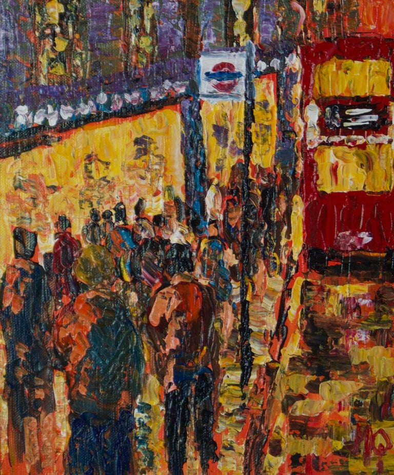 Michael Quirke Figurative Painting - London High Street - Late 20th Century Impressionist Acrylic of Bus Stop Quirke
