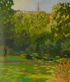 Looking Up To Highgate - Late 20th Century Landscape of Park in London by Quirke