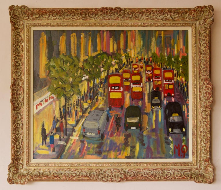 Oxford Street - Late 20th Century Impressionist Acrylic Piece of London - Quirke - Painting by Michael Quirke