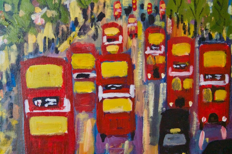 Oxford Street - Late 20th Century Impressionist Acrylic Piece of London - Quirke - Post-Impressionist Painting by Michael Quirke