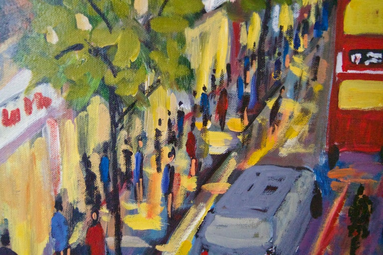 Oxford Street - Late 20th Century Impressionist Acrylic Piece of London - Quirke - Brown Landscape Painting by Michael Quirke