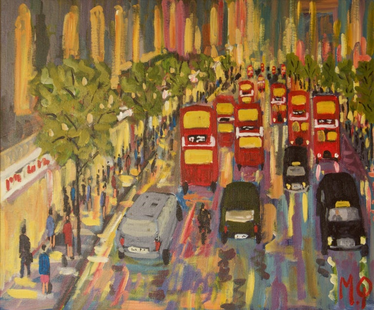 Michael Quirke Landscape Painting - Oxford Street - Late 20th Century Impressionist Acrylic Piece of London - Quirke
