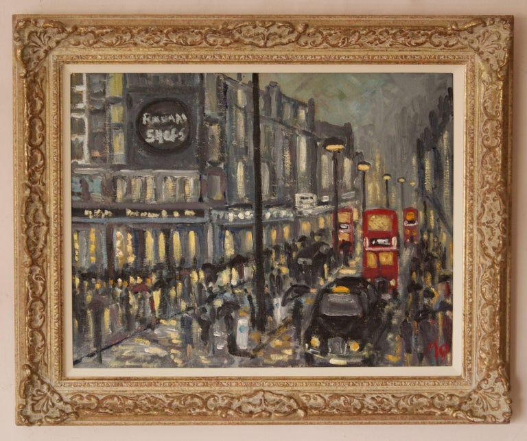 Rainy Night Shopping in London - Late 20th Century Impressionist Piece by Quirke - Painting by Michael Quirke
