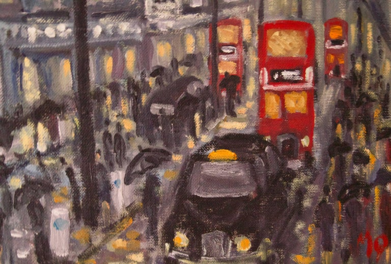 Rainy Night Shopping in London - Late 20th Century Impressionist Piece by Quirke - Brown Landscape Painting by Michael Quirke