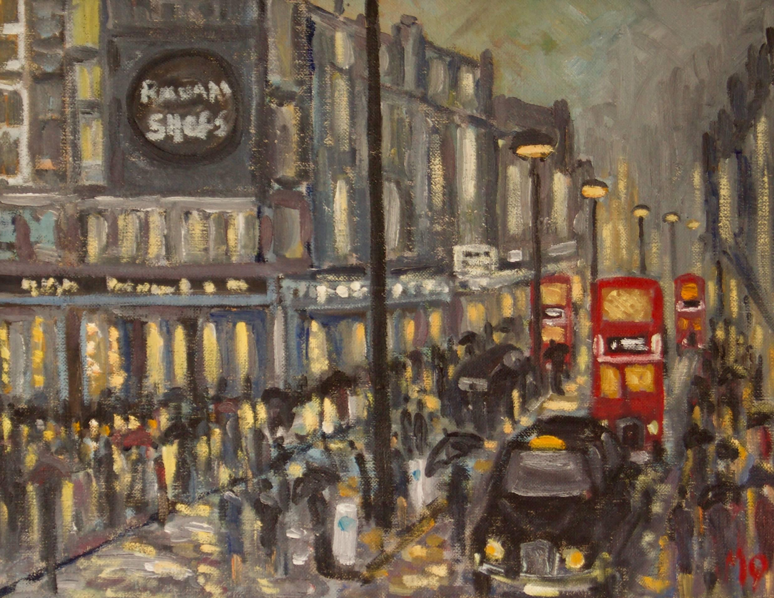 Rainy Night Shopping in London - Late 20th Century Impressionist Piece by Quirke