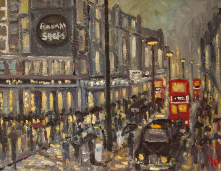 Michael Quirke Landscape Painting - Rainy Night Shopping in London - Late 20th Century Impressionist Piece by Quirke