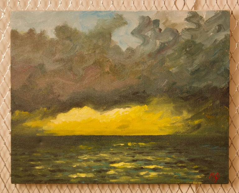 St Ives - Late 20th Century Impressionist Acrylic of Sunset on the Sea by Quirke - Painting by Michael Quirke