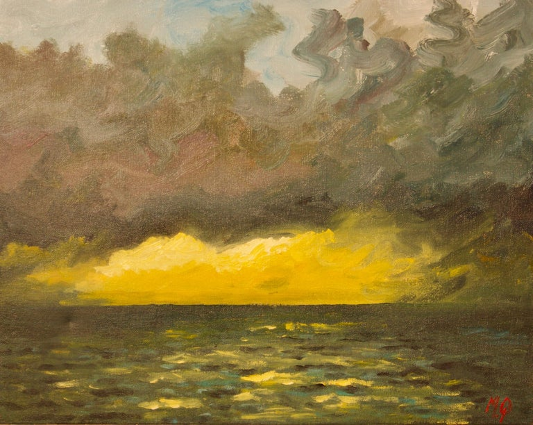 Michael Quirke Landscape Painting - St Ives - Late 20th Century Impressionist Acrylic of Sunset on the Sea by Quirke