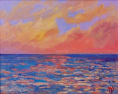 Sunset From Porthmeor Beach - St Ives - Late 20th Century Acrylic by Quirke