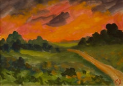 Sunset in the Country - Early 20th Century Impressionist Piece by Michael Quirke