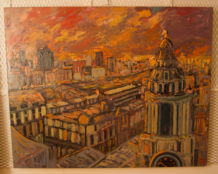 Sunset over London - Late 20th Century Impressionist Acrylic Landscape - Quirke - Painting by Michael Quirke
