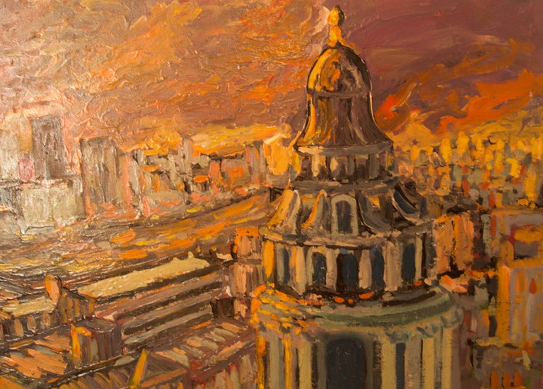 Sunset over London - Late 20th Century Impressionist Acrylic Landscape - Quirke - Post-Impressionist Painting by Michael Quirke