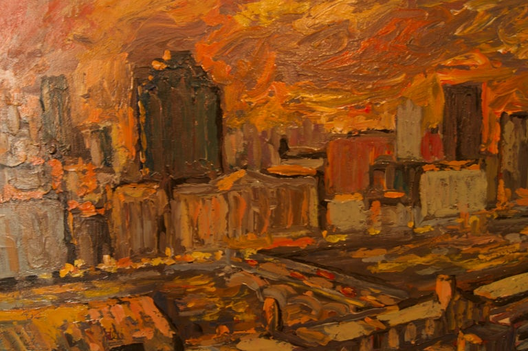 Sunset over London - Late 20th Century Impressionist Acrylic Landscape - Quirke - Brown Figurative Painting by Michael Quirke