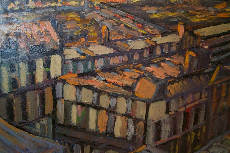 Sunset over London - Late 20th Century Impressionist Acrylic Landscape - Quirke For Sale 1