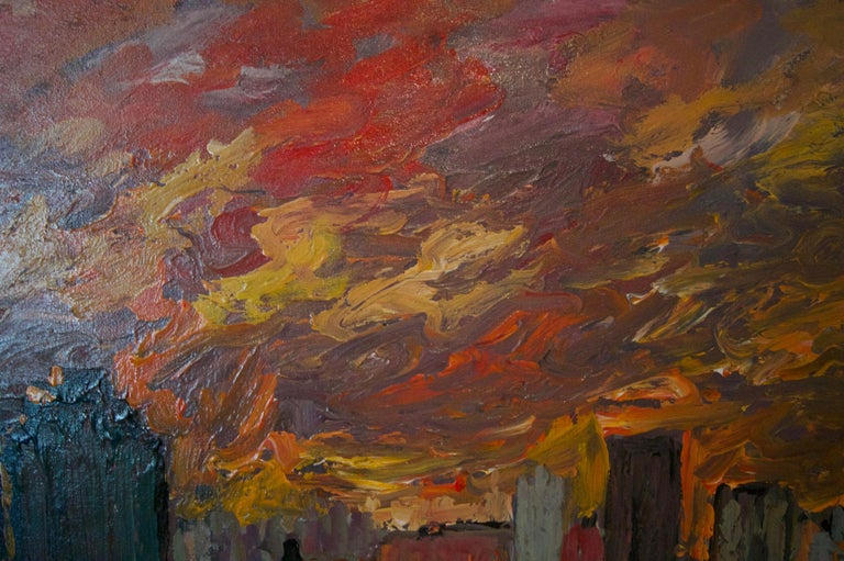 Sunset over London - Late 20th Century Impressionist Acrylic Landscape - Quirke For Sale 2