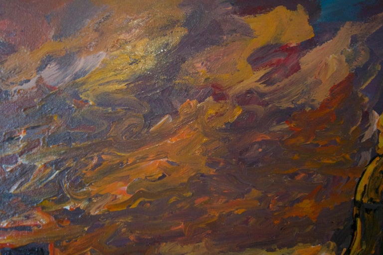 Sunset over London - Late 20th Century Impressionist Acrylic Landscape - Quirke For Sale 3