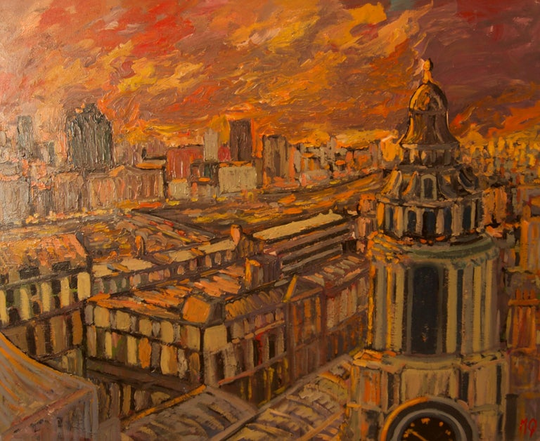 Michael Quirke Figurative Painting - Sunset over London - Late 20th Century Impressionist Acrylic Landscape - Quirke