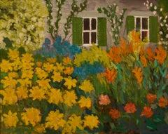 Venice - Late 20th Century Impressionist Acrylic Piece of Garden - Quirke