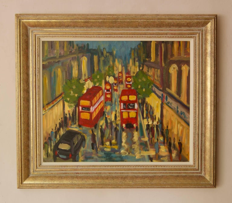 West End London - Late 20th Century Impressionist Acrylic by Michael Quirke For Sale 1