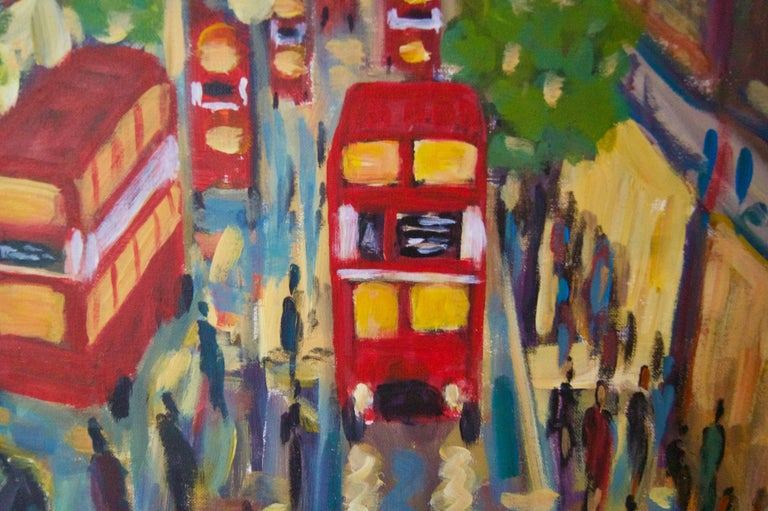 West End London - Late 20th Century Impressionist Acrylic by Michael Quirke For Sale 2