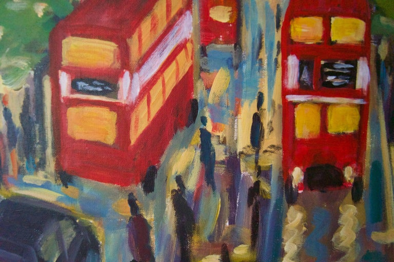 West End London - Late 20th Century Impressionist Acrylic by Michael Quirke For Sale 3