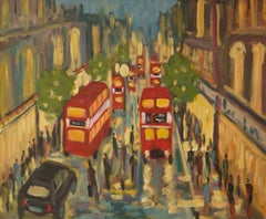 West End London - Late 20th Century Impressionist Acrylic by Michael Quirke
