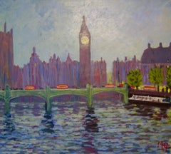Westminster - Late 20th Century Impressionist Acrylic of London - Michael Quirke