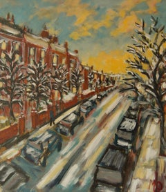 Winters Evening Hampstead - Late 20th Century Impressionist Acrylic by Quirke