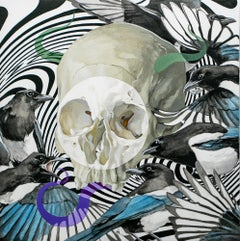 """His Own Self"", Figurative Painting, Gouache and Watercolor, Still Life, Skull"