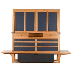 Michael Ryan Custom Oak and Leather Cabinet, 1990s