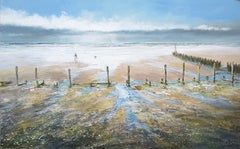 A Walk on Sheringham Beach, Michael Sanders, Original Modern Seascape Painting