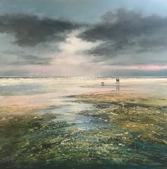 Michael Sanders, A Late Afternoon Walk, Original Painting, Seascape Art