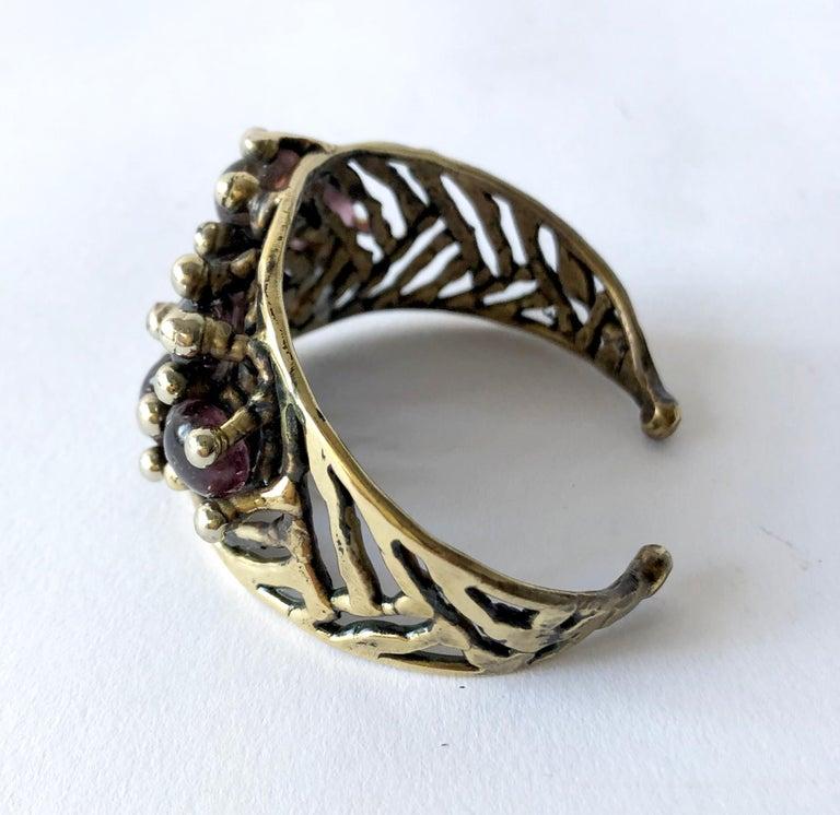 Artisan Michael Schwade Handmade Bronze and Glass Cuff Bracelet For Sale