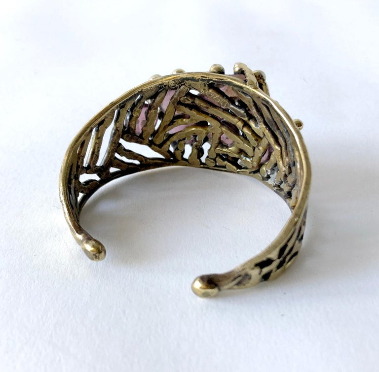 Michael Schwade Handmade Bronze and Glass Cuff Bracelet In Excellent Condition For Sale In Los Angeles, CA