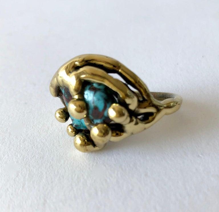 Artisan Michael Schwade Handmade Bronze Glass Organic Modernist Ring For Sale