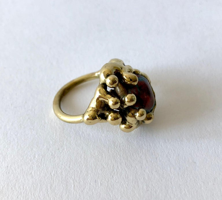 Michael Schwade Handmade Bronze Glass Organic Modernist Ring In Good Condition For Sale In Los Angeles, CA