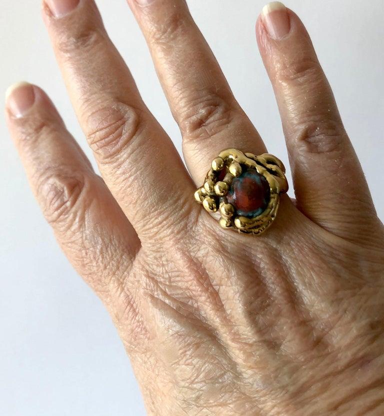 Women's or Men's Michael Schwade Handmade Bronze Glass Organic Modernist Ring For Sale