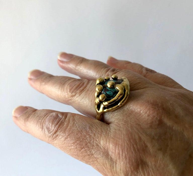 Michael Schwade Handmade Bronze Glass Organic Modernist Ring For Sale 1