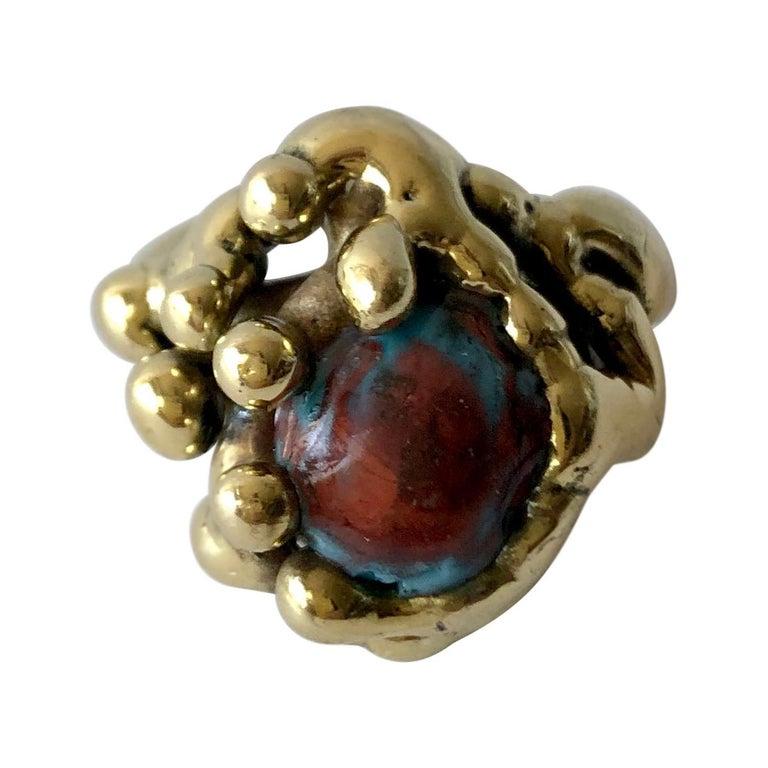 Michael Schwade Handmade Bronze Glass Organic Modernist Ring For Sale