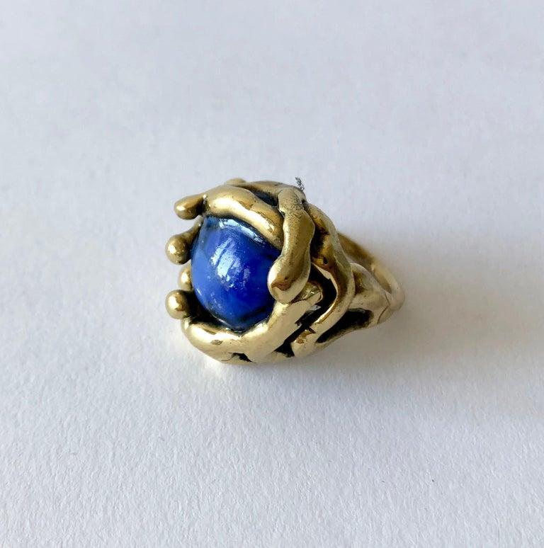 Artisan Michael Schwade Handmade Bronze with Blue Glass Organic Modernist Ring For Sale