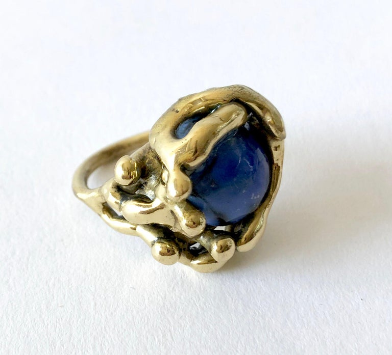 Michael Schwade Handmade Bronze with Blue Glass Organic Modernist Ring In Good Condition For Sale In Los Angeles, CA