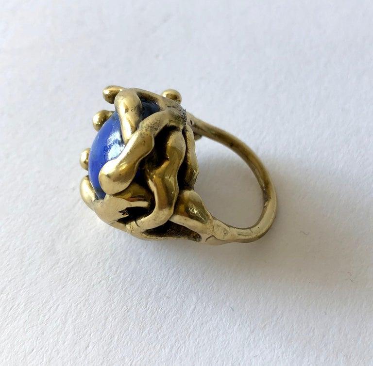 Women's or Men's Michael Schwade Handmade Bronze with Blue Glass Organic Modernist Ring For Sale