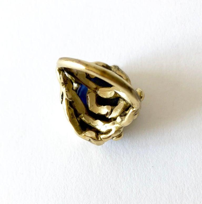 Michael Schwade Handmade Bronze with Blue Glass Organic Modernist Ring For Sale 1