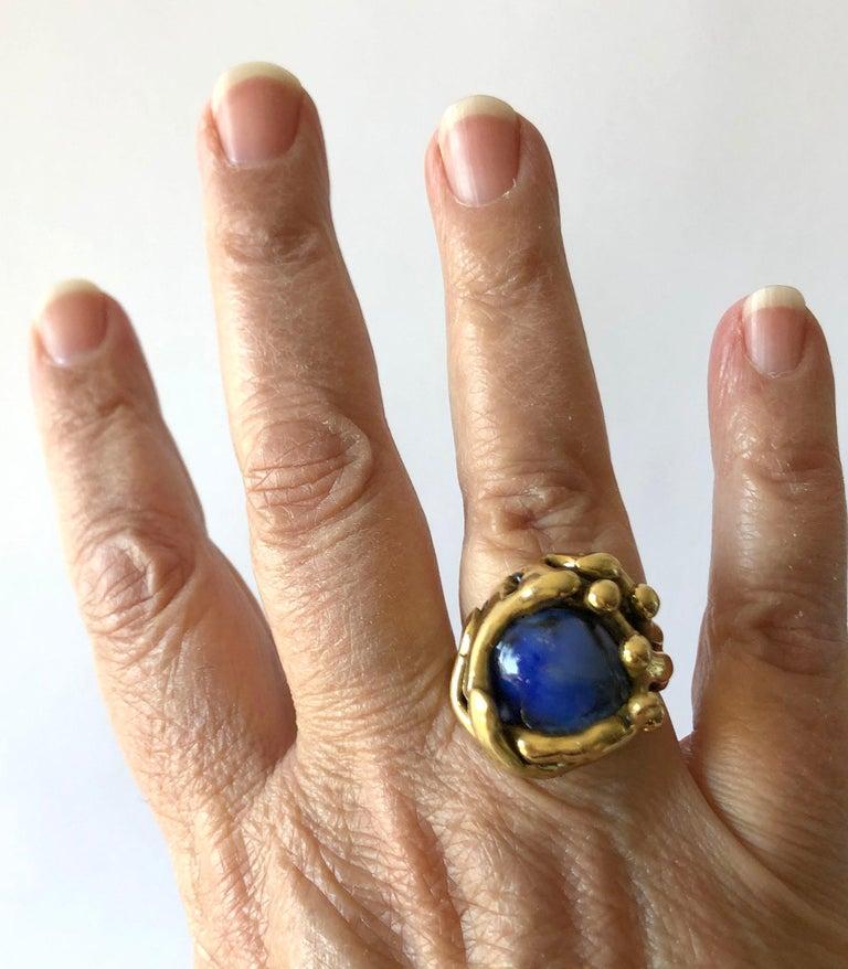 Michael Schwade Handmade Bronze with Blue Glass Organic Modernist Ring For Sale 2